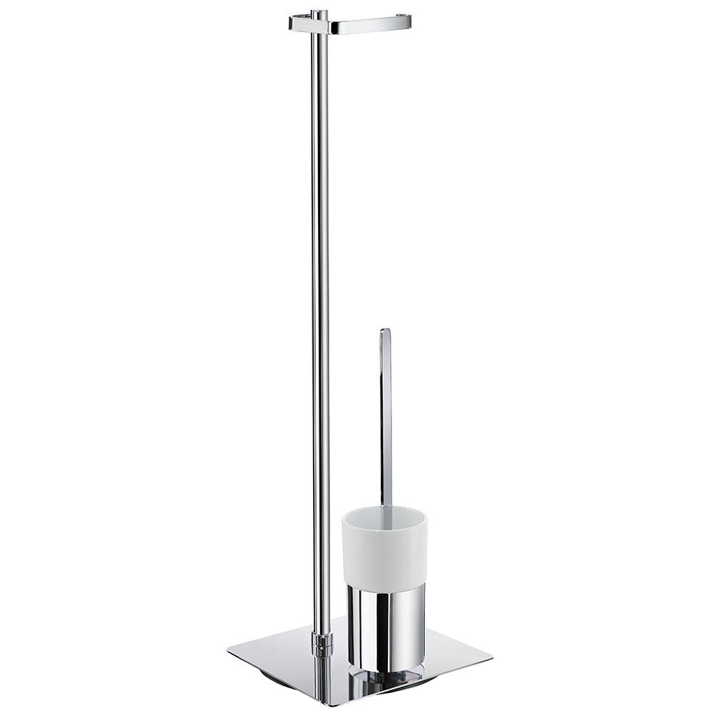 Smedbo Outline Toilettenpapierhalter Mit WC Bürste Porzellan Standmodell  Eckig FK322P | Freistehend   CreativBad Shop.de