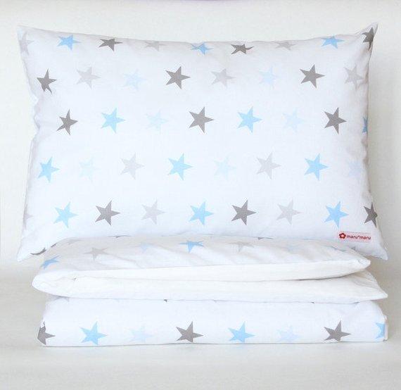 Bettwäsche Sterne Blau Grau 135 X 200cm Opolo