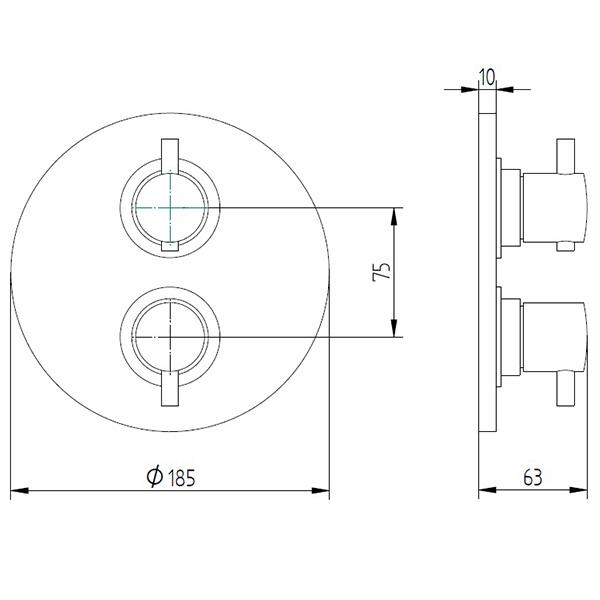 avenarius linie 400 duscharmatur thermostat unterputz 4006527010 creativbad. Black Bedroom Furniture Sets. Home Design Ideas