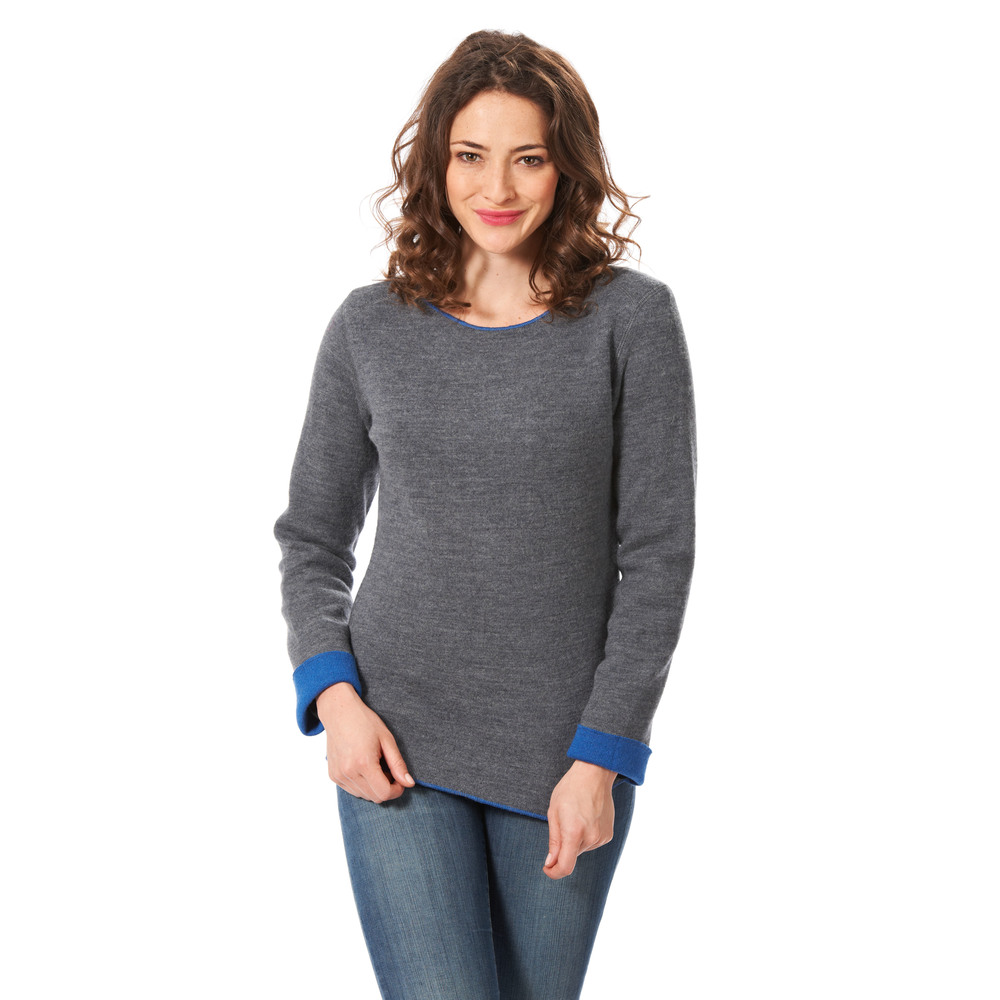 Pullover 'Outdoor' grau/royalblau