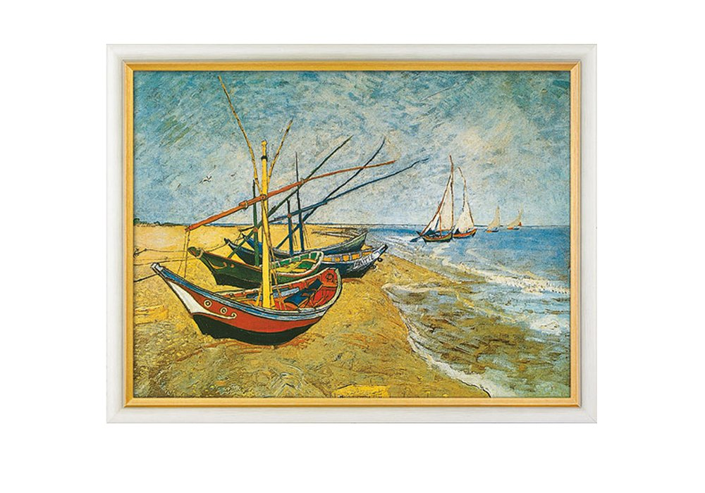 vincent van gogh bild fischerboote am strand von saintes maries online kaufen. Black Bedroom Furniture Sets. Home Design Ideas