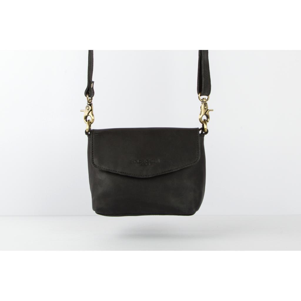 c7a650f0a4a7d Kleine Umhängetasche aus Leder für Damen - schwarz