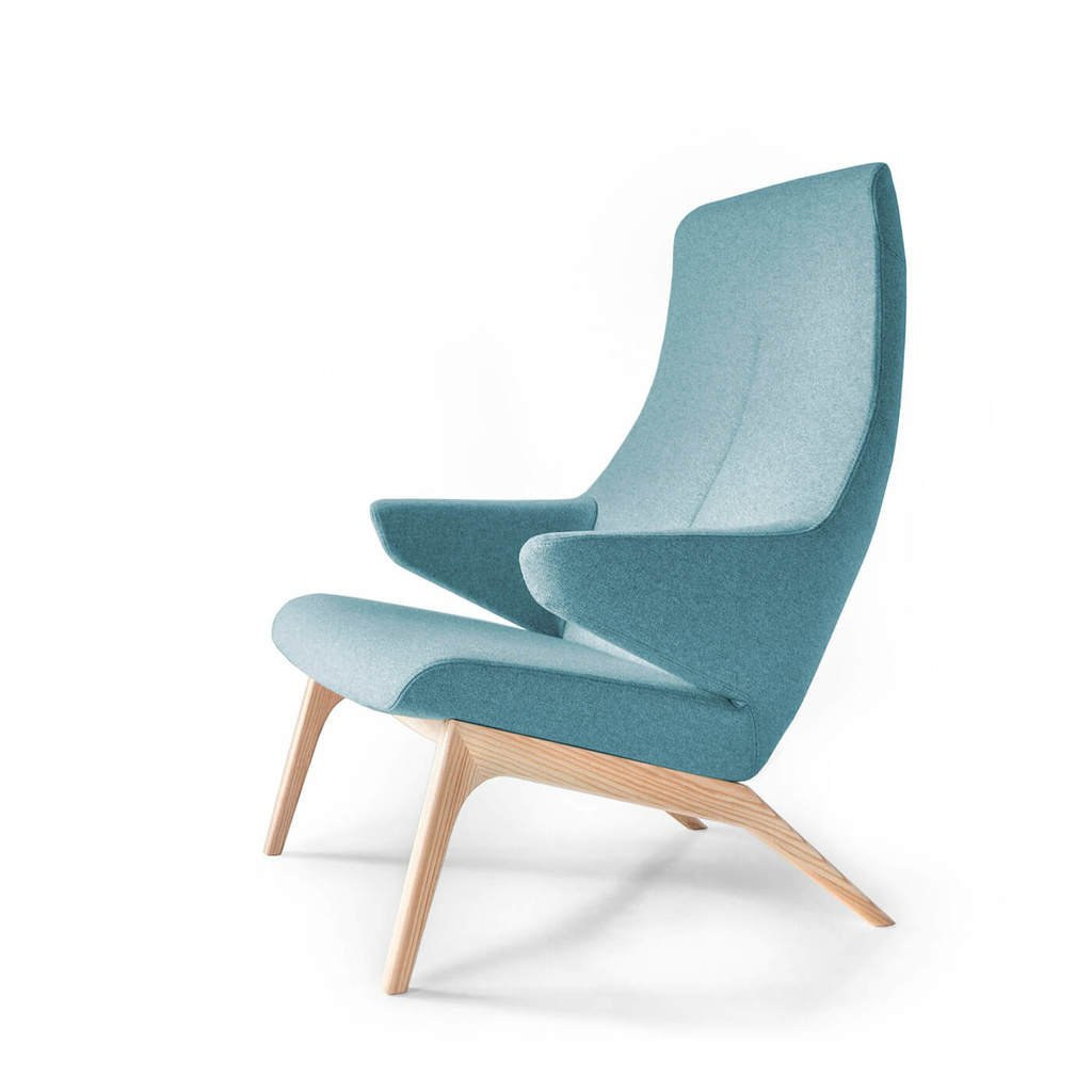 Retro-Sessel VOOG blau skandinavisches Design