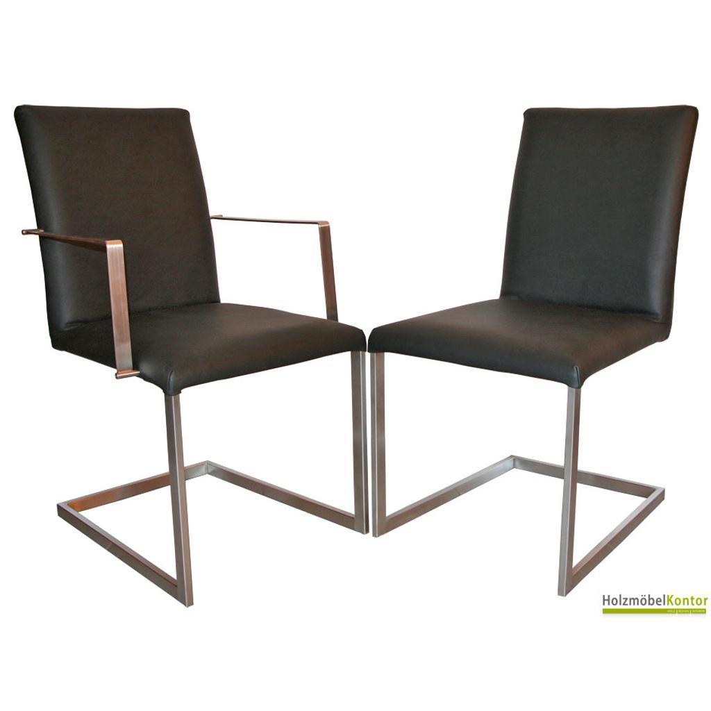 Freischwinger stuhl stoff oder lederbezogen echtleder for Schwingstuhl holz