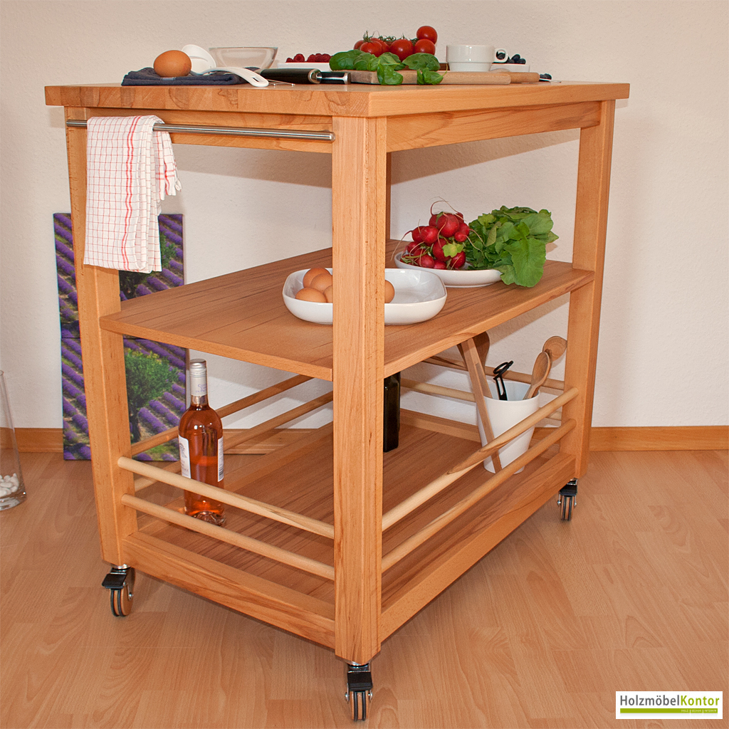 Küchenwagen Massivholz