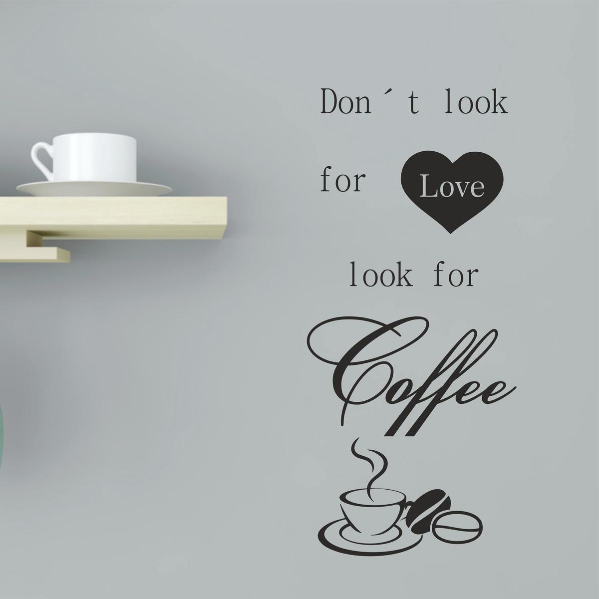 wandtattoo spruch kaffee wandsticker f r die k che unbestimmt kaufen greenluup. Black Bedroom Furniture Sets. Home Design Ideas