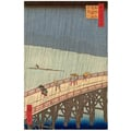 Rain shower above the Great bridge at Atake Woodcut 100 famous views of Edo