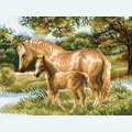 Horse with Foal -  borduurpakket met telpatroon Riolis