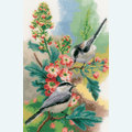 Chickadees and Blossoms - borduurpakket met telpatroon Vervaco