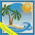 Desert Island - Diamond Painting pakket - Diamond Art Pakket met vierkante diamantjes