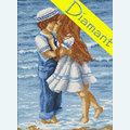 Kiss at the Beach - Diamond Painting pakket - Diamond Art Pakket met vierkante diamantjes