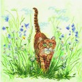 Cat in Grass - borduurpakket met telpatroon Lanarte - aida
