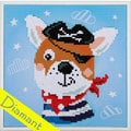 Pirate Dog - diamond painting pakket - Vervaco Reeds ingelijst, enkel nog te painten
