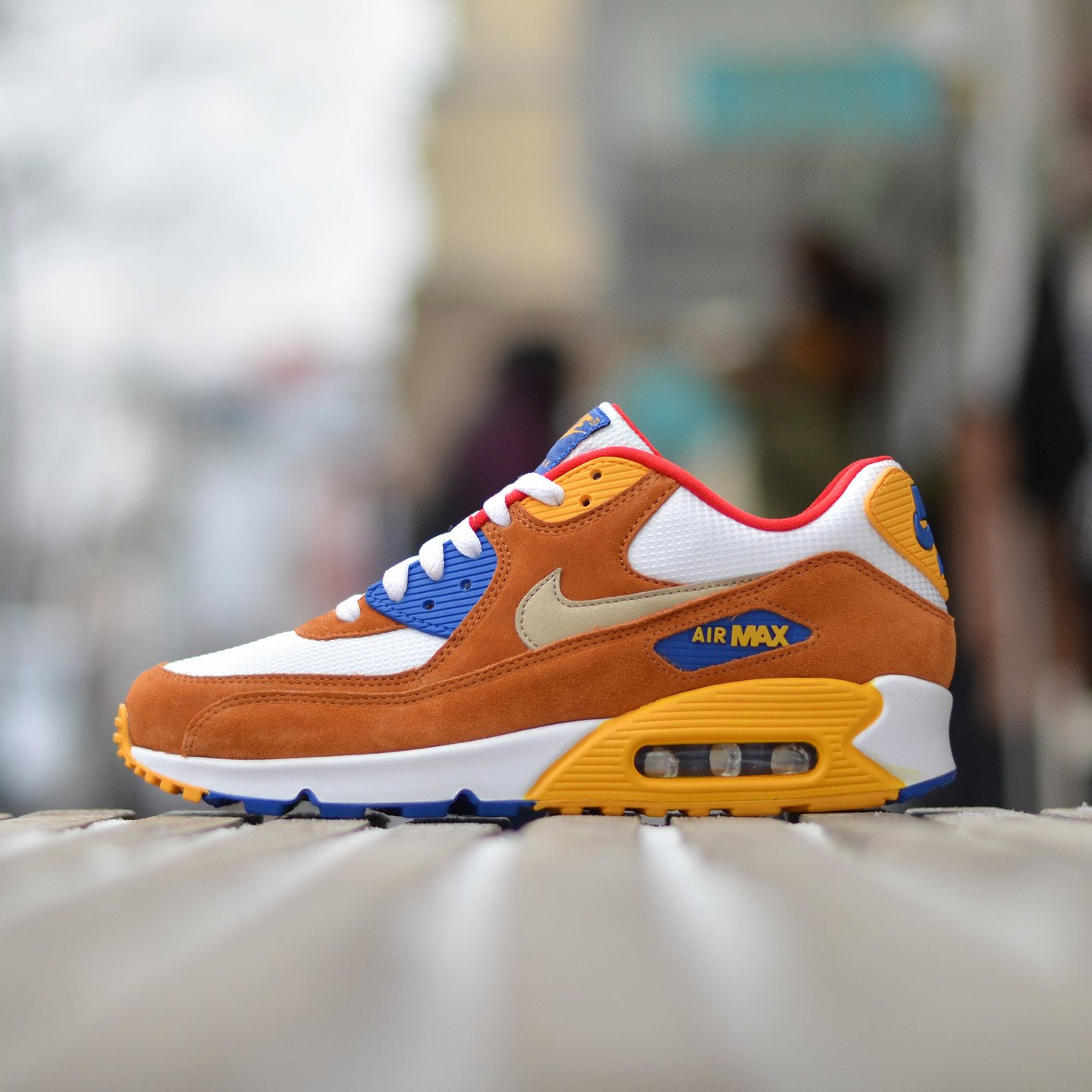 Nike Air Max 90 Premium White / Brown / Yellow / Gold 700155-107-46