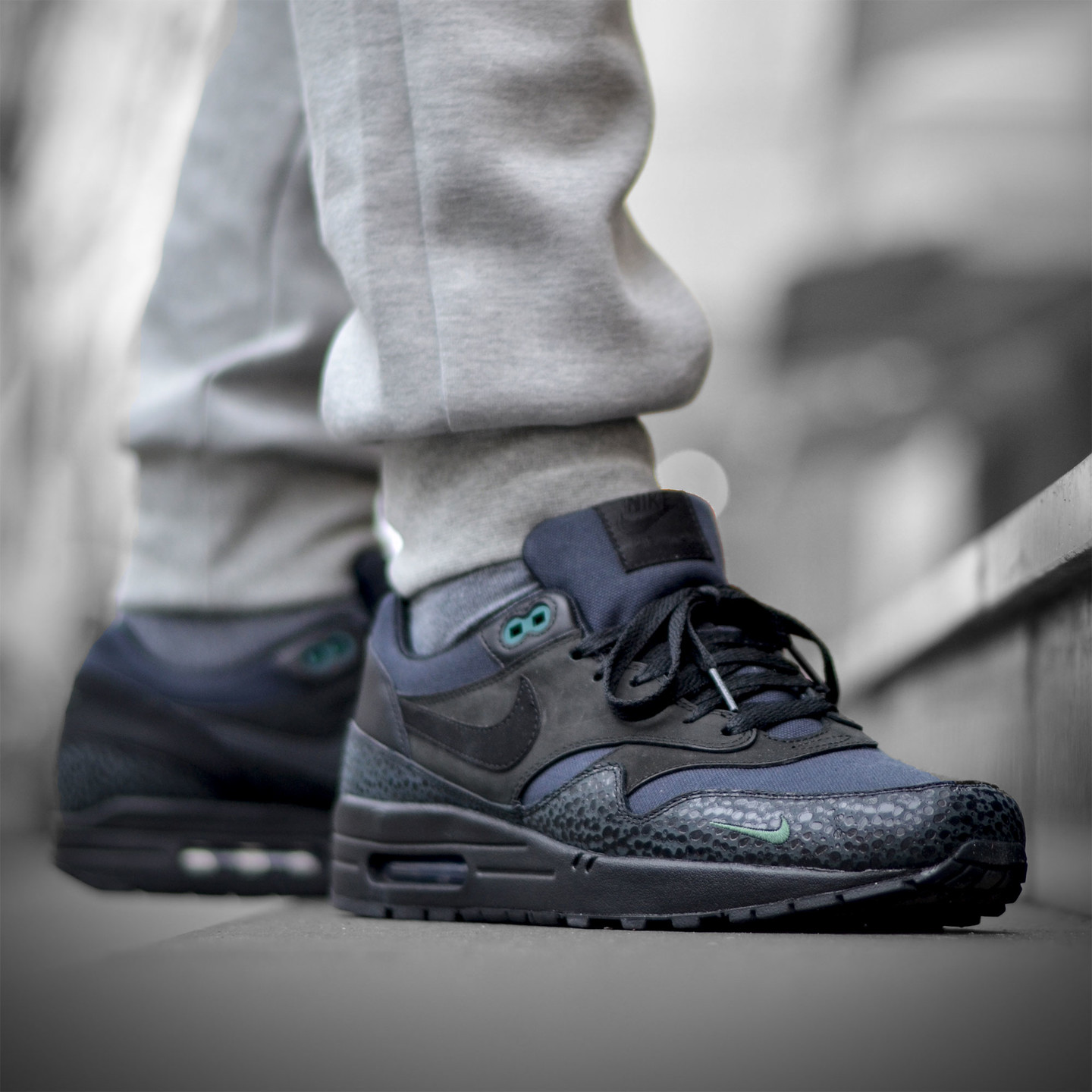 Nike Air Max 1 Premium 'Bonsai Safari' Black / Black / Bonsai 512033-030-42