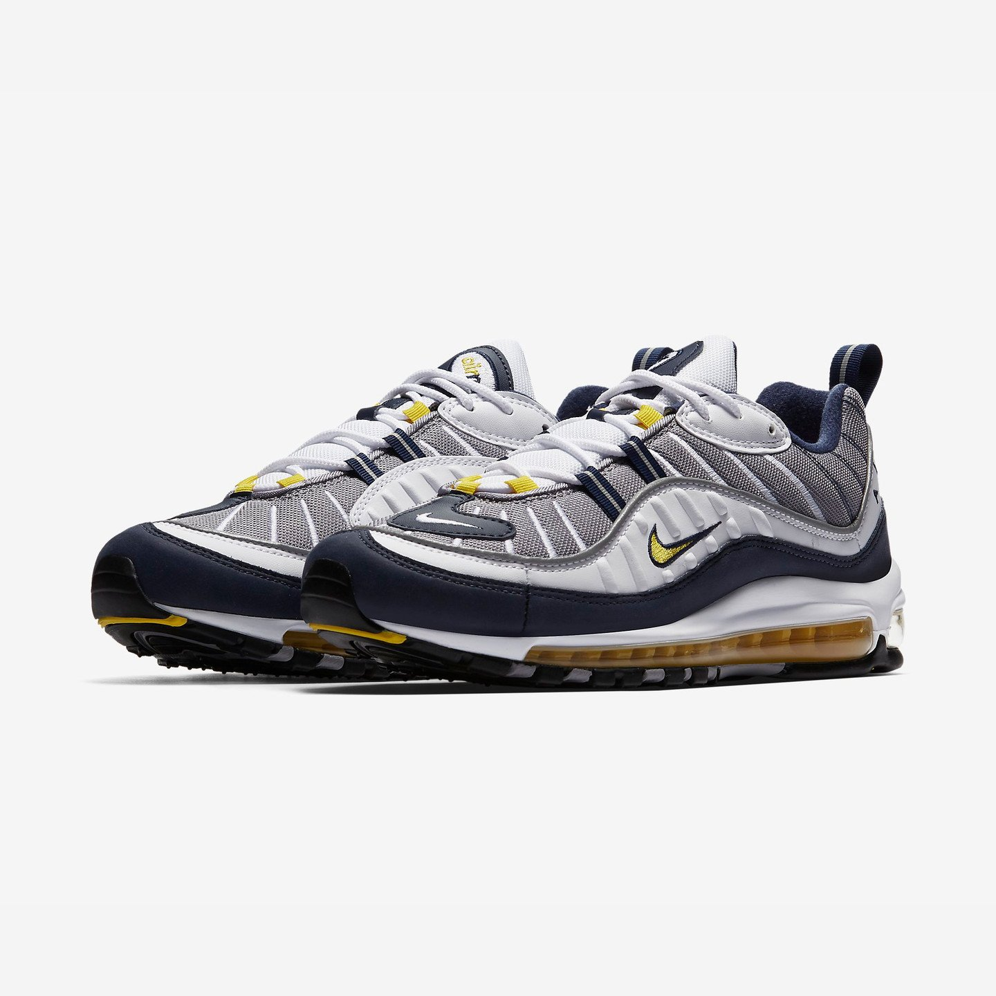 Nike Air Max 98 OG 'Michigan' White / Tour Yellow / Midnight Navy / Cement Grey 640744-105