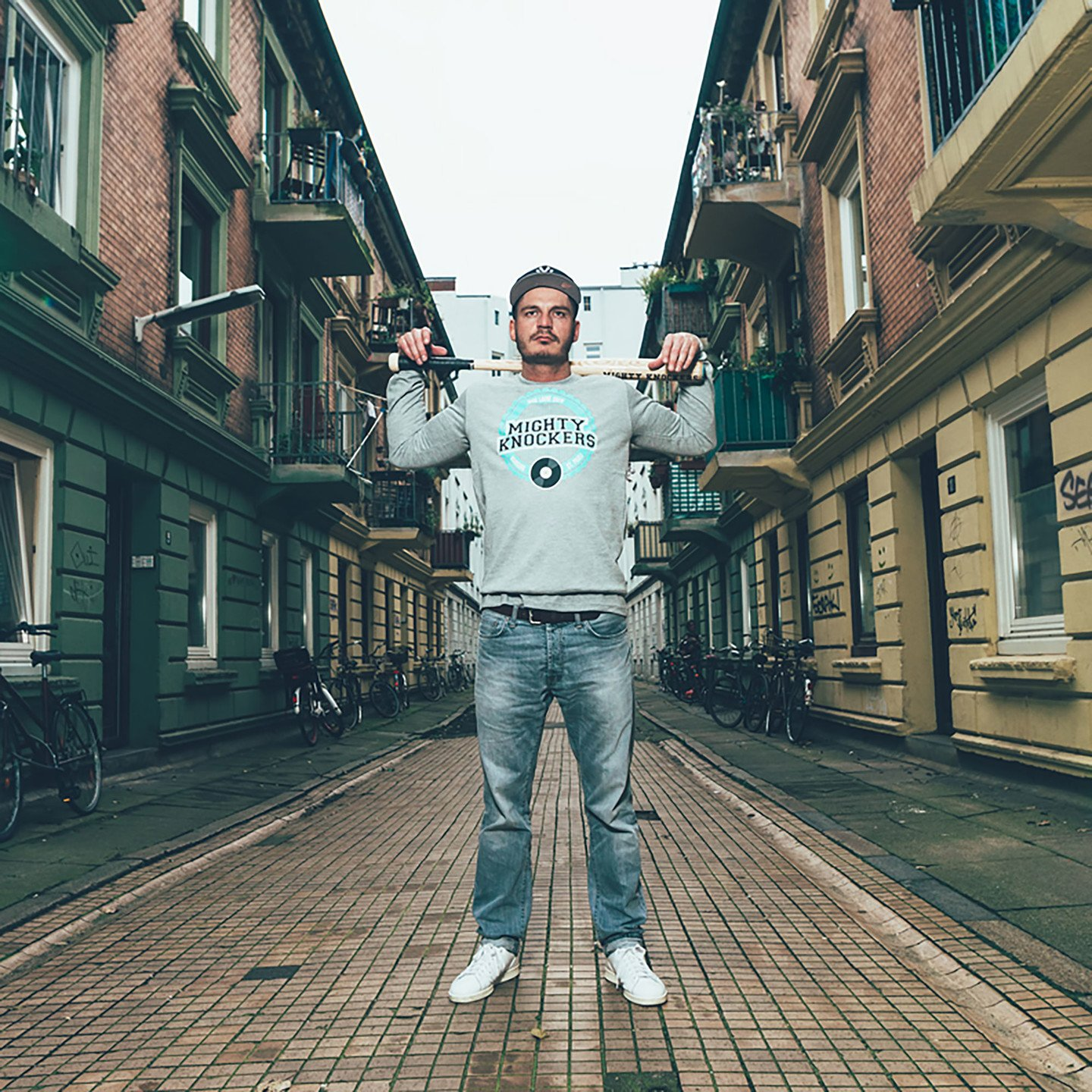 Mighty Knockers Crewneck Sweatshirt Heather Grey / Mighty Mint MK05