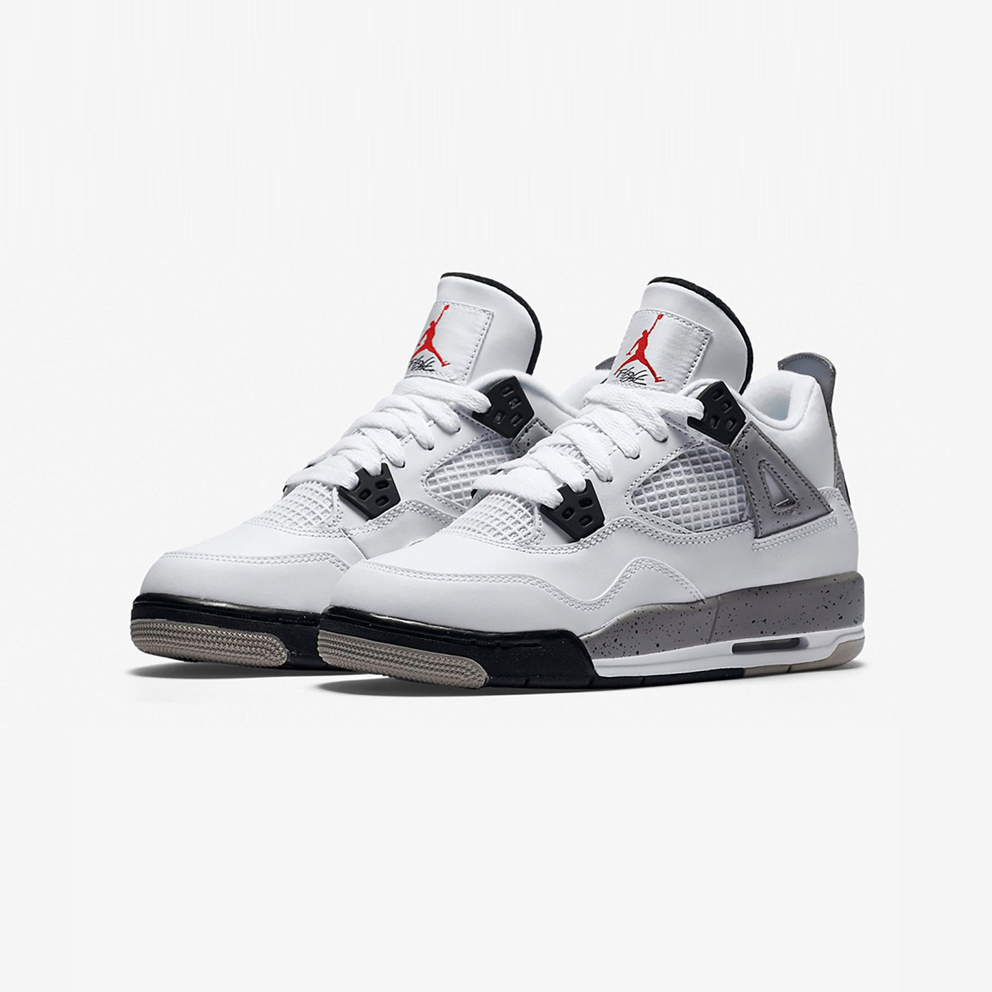 Nike Air Jordan 4 Retro GS Cement White / Fire Red / Tech Grey / Black 836016-192-36