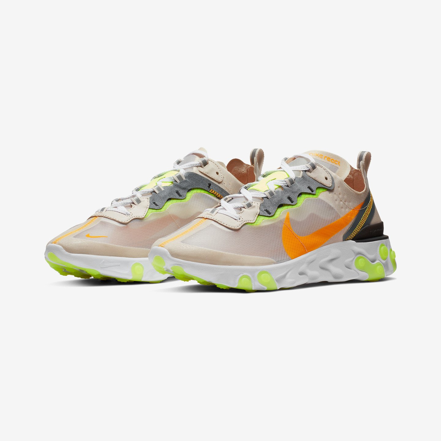 Nike React Element 87 Light Orewood Brown / Laser Orange / Volt Glow AQ1090-101