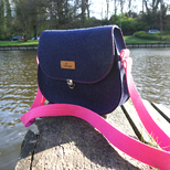 Saddle Bag - Schultertasche - Marineblau & Pink (M)