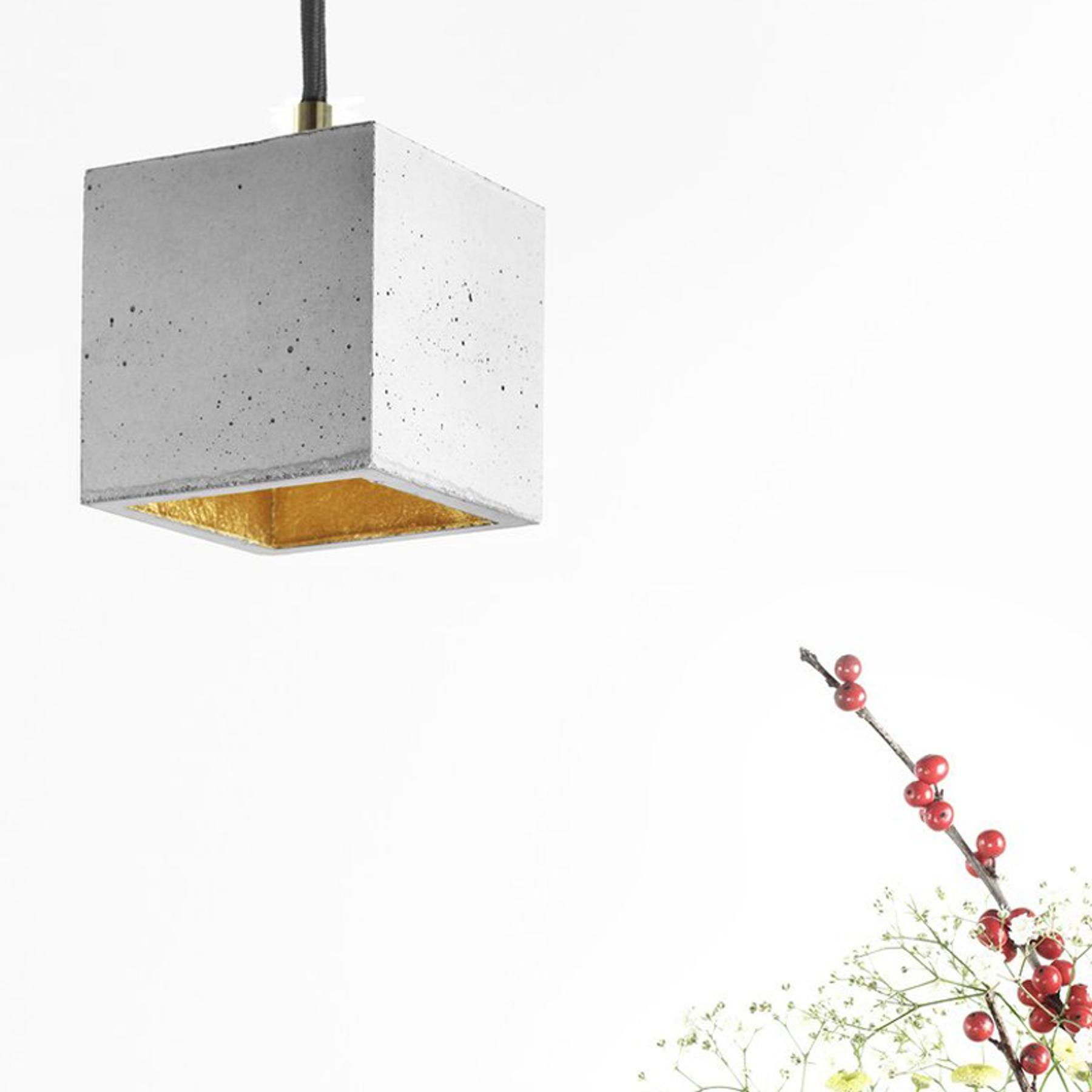 Beton Hangelampe Klein In Grau Handgefertigte Quadratische Design