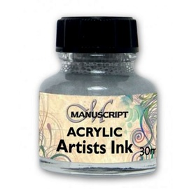 Acryltinte metallic-silver MANUSCRIPT | 30 ml  Glasflakon  | Artikelnummer: M050