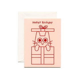 Kleine Katzen Geburtstagskarte / Happy Birthday Cat Card | Rot metallic Prägedruck / Red metallic foil embossing | Artikelnummer: wrap_katze