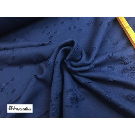 Destroyed Sweat French Terry Kevin Löcher D.-BLAU  | 100 % Baumwolle; Breite ca. 165 cm | Artikelnummer: 080309-000597