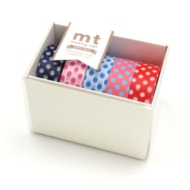 mt Punkte Masking Tape Geschenkbox  / mt Dot Masking Tape Gift Box | 5 Tapes mit Punkten / 5 tapes with dots | Artikelnummer: MT05G005Z