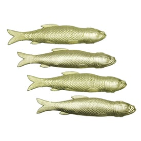 Dresdner Ornament – 4 Goldfische / 4 Goldfish | Goldene Papierstanzteile / Golden Cut Out Paper Ornaments | Artikelnummer: ef