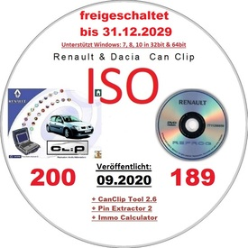 Renault Dacia CanClip 200 + Reprog 189 (09.2020) International, Mehrsprachig frei bis 2029 plus extra Keygen. Läuft unter allen Windows Systemen ab Win 7 | inclusive  CanClip Tool 2.6 + Pin Extractor 2 + Immo Code Kalkulator | Artikelnummer: 000001175