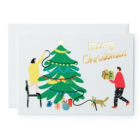 Merry Christmas – Weihnachtskarte | Trimming Tree Christmas Card | Artikelnummer: wrap_baum_neu