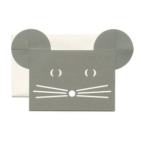 Grußkarte Kleine Graue Maus  / Small Grey Mouse Card  | Ausgestanzte Klappkarte / Foldable Cut Out Card  | Artikelnummer: cm-maus