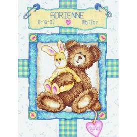 Bunny 'n Bear Birth Record - borduurpakket met telpatroon Dimensions | | Artikelnummer: dim-73127
