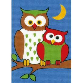 Night Owls - halve kruissteekpakket Vervaco | Handwerkpakket voor kinderen, te borduren op geschilderd stramien, in halve kruissteek  | Artikelnummer: vvc-155677
