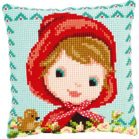 Red Riding Hood with Bow - Vervaco Kruissteekkussen |  | Artikelnummer: vvc-150071