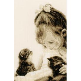 Girl and Kittens - kruissteekpakket met telpatroon Vervaco | | Artikelnummer: vvc-155013