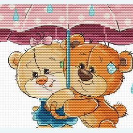 Teddy Bears under Umbrella - borduurpakket met telpatroon Luca-S |  | Artikelnummer: luca-b1178