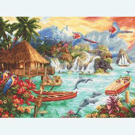 Island Life - borduurpakket met telpatroon Letistitch |  | Artikelnummer: leti-925