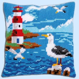 Lighthouse and Seagulls - Vervaco Kruissteekkussen |  | Artikelnummer: vvc-158364