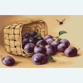 Basket of Plums - borduurpakket met telpatroon Luca-S |  | Artikelnummer: luca-b496