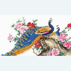 Two Peacocks - borduurpakket met telpatroon Luca-S |  | Artikelnummer: luca-b460