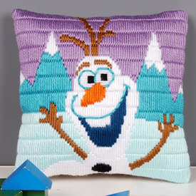 Olaf - Frozen - platsteek kussen Vervaco - Disney  | Handwerkpakket voor kinderen om zelf te maken | Artikelnummer: vvc-169170