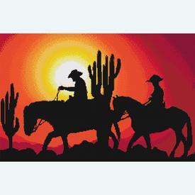 On Horseback in the Sunset - borduurpakket met telpatroon Nafra |  | Artikelnummer: nf-nafra21011
