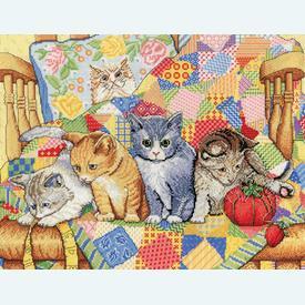 Rocking Chair Kittens - borduurpakket met telpatroon Design Works |  | Artikelnummer: dw-2922