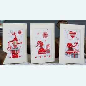 Assortiment kerstkaarten - Singing Christmas Gnomes - Handwerkpakketten met telpatroon Vervaco |  | Artikelnummer: vvc-165989