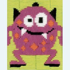 Pink Little Monster - Vervaco borduurpakket in platsteek, voor kinderen  |  | Artikelnummer: vvc-150519