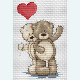 Teddy Bruno and Bianca - Heart - borduurpakket met telpatroon Luca-S |  | Artikelnummer: luca-b1013