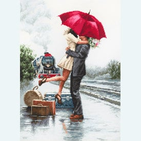 Couple on Train Station - borduurpakket met telpatroon Luca-S |  | Artikelnummer: luca-b2369