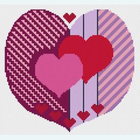 Two Hearts United - borduurpakket met telpatroon Nafra | leverbaar vanaf 16 mei | Artikelnummer: nf-nafra21048